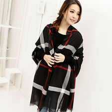 New Winter Women Lady Neck Warm Voile Checked Shawl Scarf Cappa Stole Plaid Gift