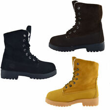 Womens Ankle Boots Winter Fur Casual Hiking Combat Walking Boot Size 2-8