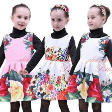 Girls Sleeveless Flower Print Dress Kids Princess Party Pageant Wedding Costume