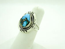 Vintage Old Pawn Southwestern Sterling Silver Ring with Turquoise Stone Size- 7