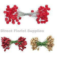 1 to 50 Stems RED PLASTIC BERRY BUNDLE - Artificial Xmas Holly Berries on Wire.