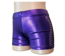 NEW PURPLE SHINY FOIL DIAMONTES BIKE SHORTS All Sz Gymnastics Leotard
