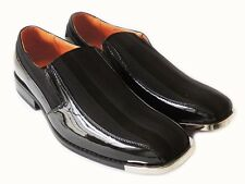 NEW *FERRO ALDO* FASHION MENS STRIPED SLIP ON LOAFERS CLASSIC DRESS SHOES /BLACK