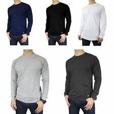 Mens 100% Cotton THERMAL TOP Crew Neck Long Sleeve Shirts Underwear Waffle Color