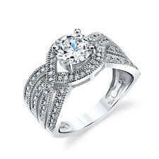 925 Sterling Silver Engagement Wedding Ring Round Thick Multi Layer Band