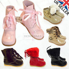 GIRLS PATENT SPANISH LEATHER BOOTS SIZES 4JUK-3LUK PINK BROWN CAMEL RED BLACK