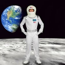 Mens Outer Space Suit Astronaut Halloween Adventure Party Outfit +Helmet Costume