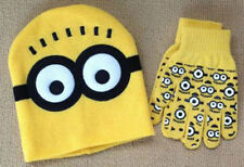 "New Despicable Me ""MINION"" Winter Beanie Hat and Gloves Set Yellow 3-12 Yrs ly36"