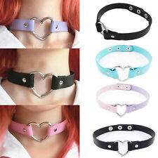 Chic Harajuku Punk Goth Handmade Chain Leather Heart Collar Choker Necklace