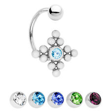 14ga Belly Navel Ring with CZ Gem - C-Shape Bar 316L Surgical Steel