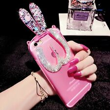 Crystal Glossy Silicone TPU Rabbit Stand Case Cover For Apple iPhone 6 6s Plus 5