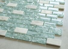 """Blue Cleft Glass & Bianco Marble Mosaic Tile - Blue & White 1""""x2"""" Glass Tile"""