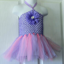 HOT!!!!!BABY GIRLS PINK MAUVE TULLE TUTU ATTACHED,MAUVE CROCHET TOP MAUVE FLOWER