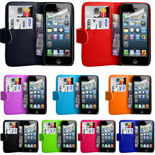 iPhone 4 4s 4g Cover & Free Screen Protector PU Leather Wallet Book Flip Case