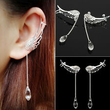 1 Pair x Popular Angel Wing Crystal Dangle Drop Ear Cuff Chic Stud Clip Earrings