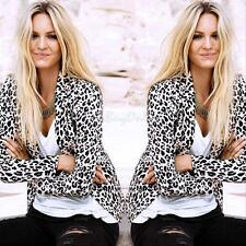 Fashion Lady Women Leopard Print Jacket Slim Blazer Suit Outwear OL Tops Blouse