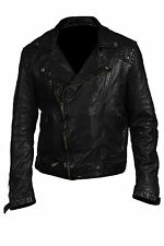 Hampton New Mens Casual Quilted Retro Rock Biker Jacket 100% Black Nappa Leather