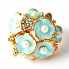 womens vintage ring size  7 8 9 Nice blue Enamel pearl flower crystal rings