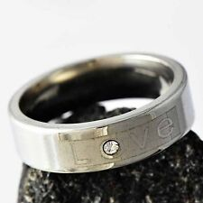 womens stainless steel cz ring size 8-12 fashion jewelry mens wedding ring