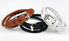 Genuine Bonded Leather Bracelet Cuff Wrist Band 5mm Double Wrap Buckle