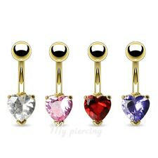 """1pc. 14GA~3/8"""" Heart Prong C.Z. 14KT Gold Plated 316L Surgical Steel Navel Ring"""