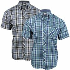 Mens Short Sleeve Check Shirt Button Down Collar Slim Fit By Xact