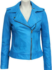 Ladies Women's BRANDO Blue Fashion Biker Style Soft Leather Rock Jacket