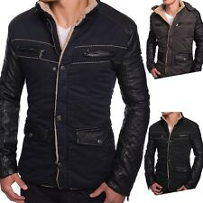 Men's Winter Jacket Fiord leather sleeves quilted warm lining Hood Fake Fur