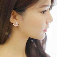 Chic Fashion Women Girls Pearl Rhinestone Crystal Asymmetric Ear Studs Earrings