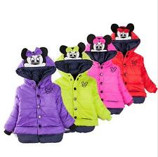 Toddler Girls Minnie Coat Hooded Jacket Kids Winter warm Lined Cotton Outerwear