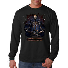 Meditation Skull Skeleton Meditating Space Gothic Long Sleeve T-Shirt Tee