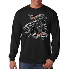 Shut Up & Ride Bikers Creed Skull Motorcycle Chopper Long Sleeve T-Shirt Tee