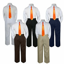 3pc Boys Baby Toddler Kids Orange Necktie Formal Set Uniform School Suit S-7