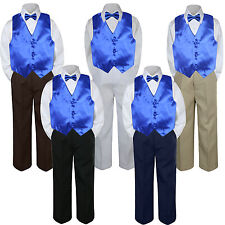 4pc Boys Baby Toddler Kids Royal Blue Vest Bow Tie Formal Set Suit S-7