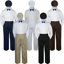 4pc Boys Baby Toddler Kids Royal Blue Bow Tie Formal Set Suit Hat S-7