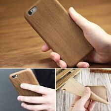 Luxury Ultra-thin PU Leather Wood Grain Case Cover For Apple iPhone 5 6 6s Plus