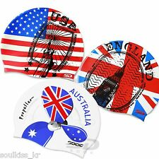 USA AUS ENG Flag Image Swim Caps Silicone Comfortable Swimming Head Cap