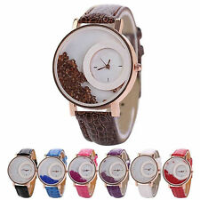 Women Quicksand Faux Leather Band Bracelet Round Dial Analog Wrist Watch pretty