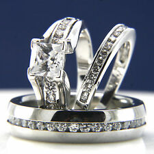 3pcs Engagement Wedding Woman's Silver Rings & Stainless Steel Men's Band Sets
