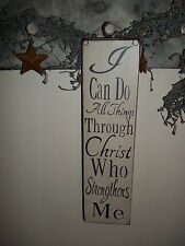 Wood Sign Rustic Prim Sign I CAN DO ALL THINGS Hanging Home Wooden Decor Sign