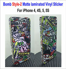 Bomb Matte laminated Vinyl Decal Skin Sticker Style-2 - For iPhone 4, 4S, 5, 5S
