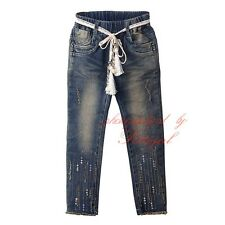 Girls Sequinned Jeans Kids Denim Trousers Children Fashion Clothes Age 3-8 Years