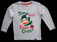 Paul Frank Boys Size 2T Long Sleeve Grey 'Does Good Enough Count? Holiday Tee