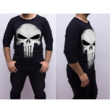 Mens Marvel L Large Punisher Long Sleeve Black Shirt Cartoon Super Hero Comic