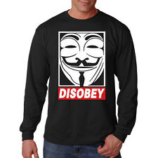 Disobey Anonymous Mask Occupy Revolution V For Vandetta Long Sleeve T-Shirt
