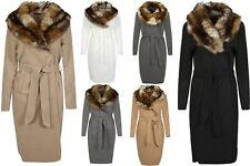 New Womens Faux Fur Collar Long Sleeve Pocket Open Jacket Long Belted Coat 8-14
