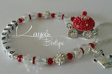 Bling *Princess Carriage* Shamballa Romany Dummy Clip *Any Name* Red/Silver