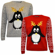 Ladies Womens Christmas Novelty Jumper Penguin Sparkly Sequins Antlers Xmas Top