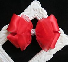 Red satin organza hair bow bling clip Navy Black Silver Burgundy Ivory White