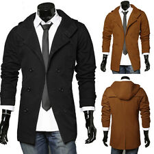 Mens Cotton Stylish Slim Trench Coat Jacket Hooded Outerwear Tops Size S M L XL